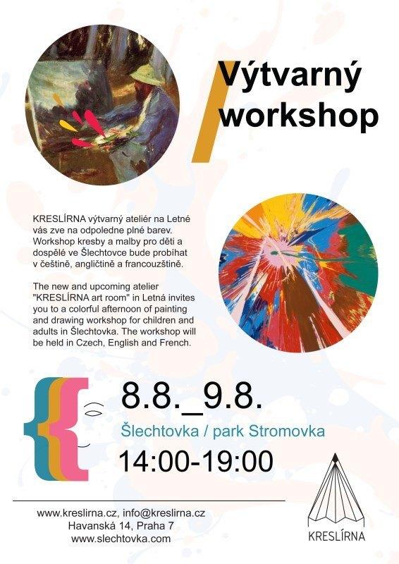 KRESLÍRNA výtvarný ateliér na Letné vás zve na odpoledne plné barev. Workshop kresby a malby pro děti a dospělé ve Šlechtovce bude probíhat v češtině, angličtině a francouzštině.